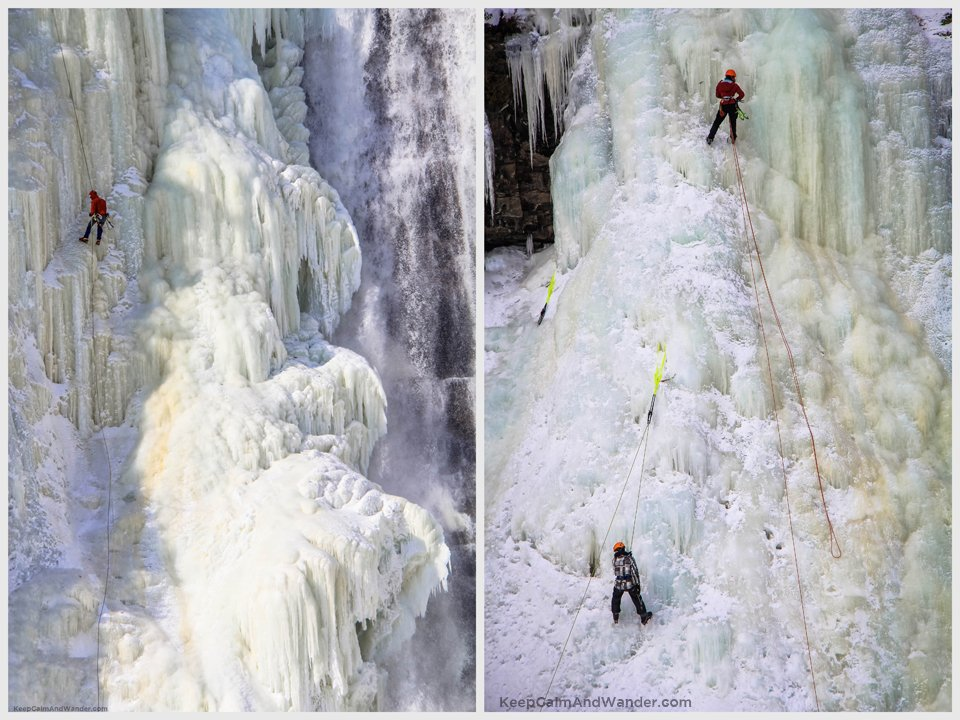 The ice climbers at the frozen Montmorency Falls in Quebec City.