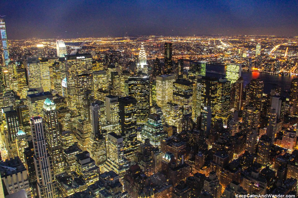 Night East view of New York from the Empire State Building