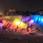 Frozen Niagara Falls Cascades Rainbow at Night