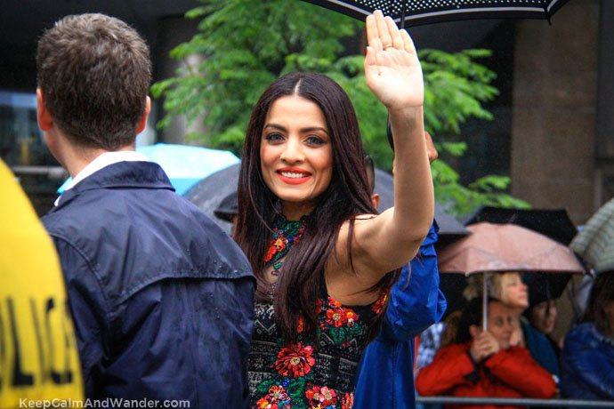 Celina Jaitly and Cyndi Lauper at the 2015 Toronto Pride Parade despite constant drizzle and cold temperature.