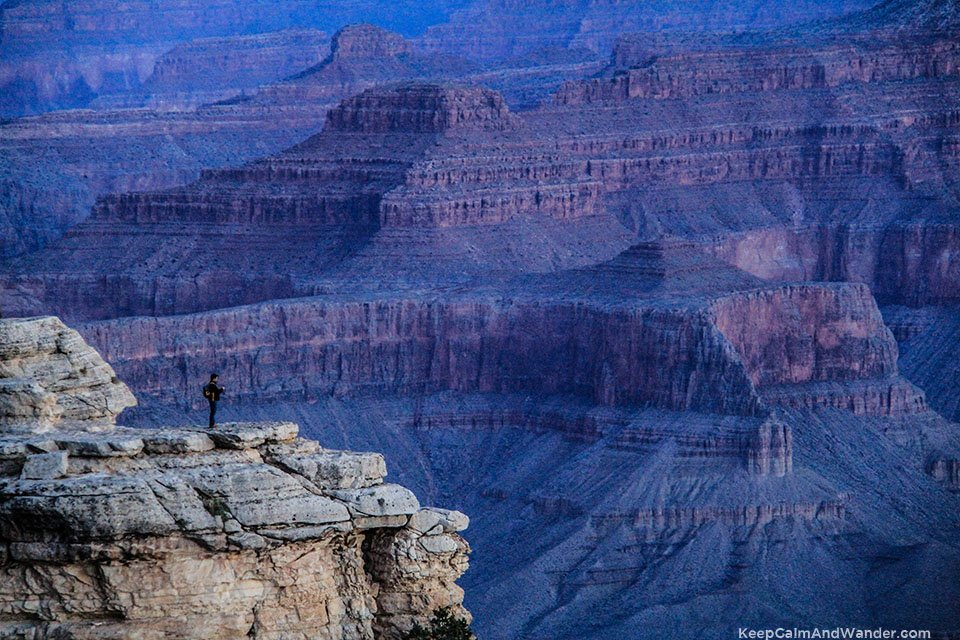 Waiting for the sunrise at Mather Point / Views of Overlook Points of Grand Canyon South Rim.