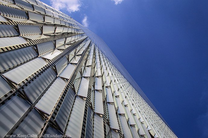 The facade of One World Tower Center in New York City.