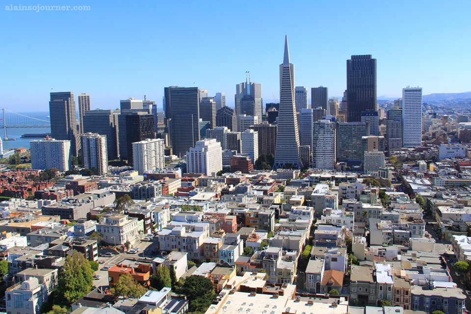 View of San Francisco Skyline from Coit Tower
