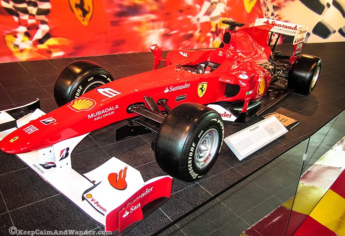 F10 is one the displays near the entrance at Ferrari World.