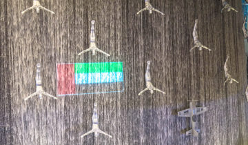 The Divers at Dubai Mall Waterfalls.