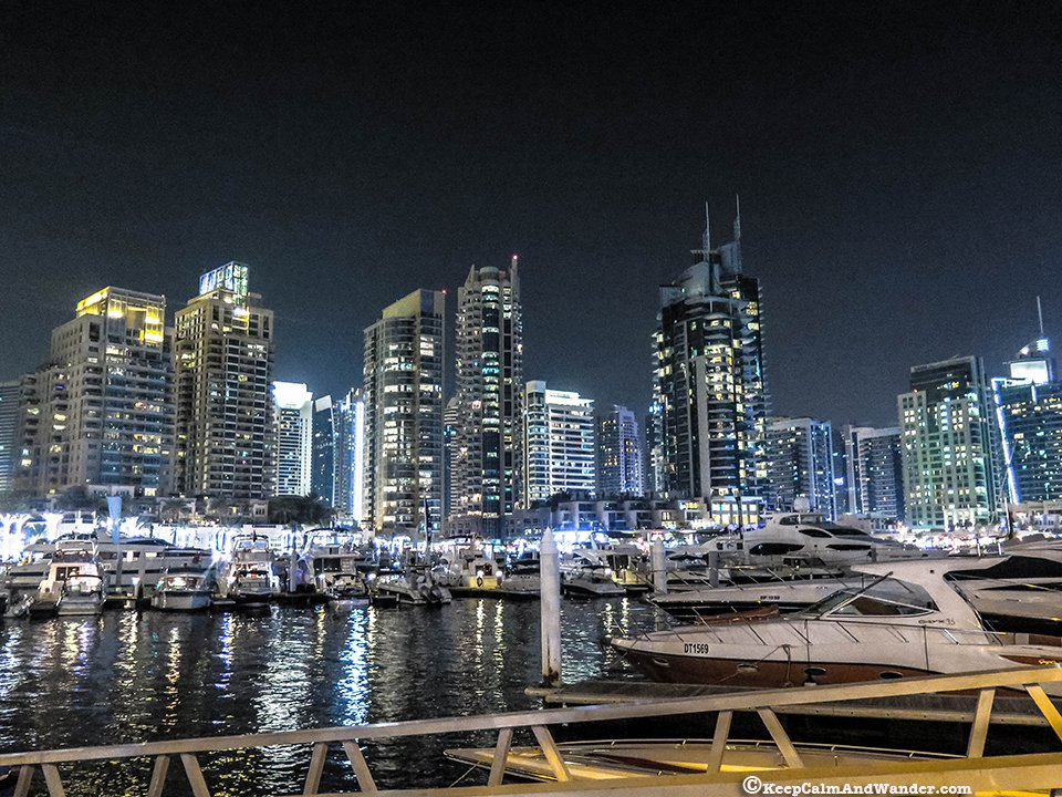 Dubai Marina at night is splendid.