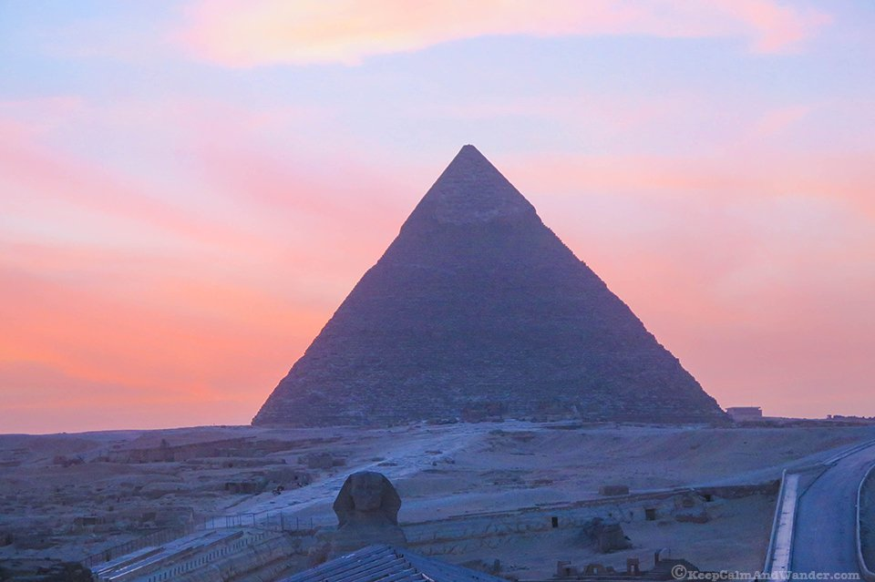 Sunset at the Pyramids of Egypt.