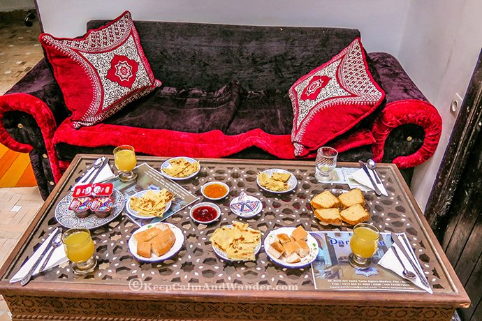 Breakfast at Hostel Dar Janaat in Fes, Morocco.