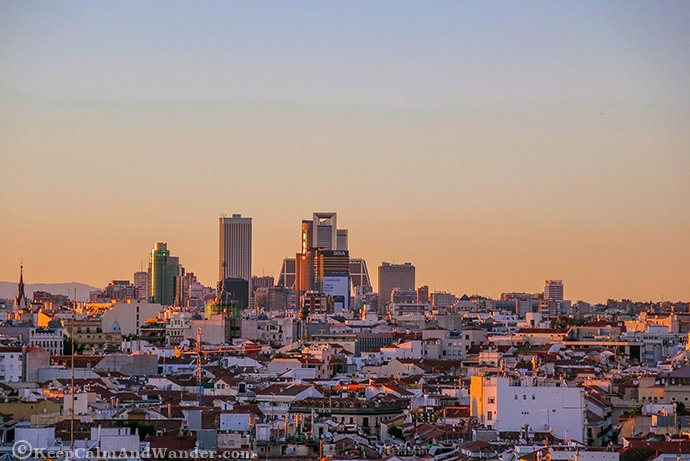 Madrid Sunset from Circulo Las Bellas Artes Terrace.