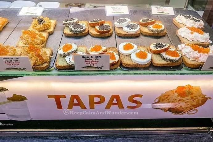 All the Glorious Food at Mercado de San Miguel in Madrid, Spain.