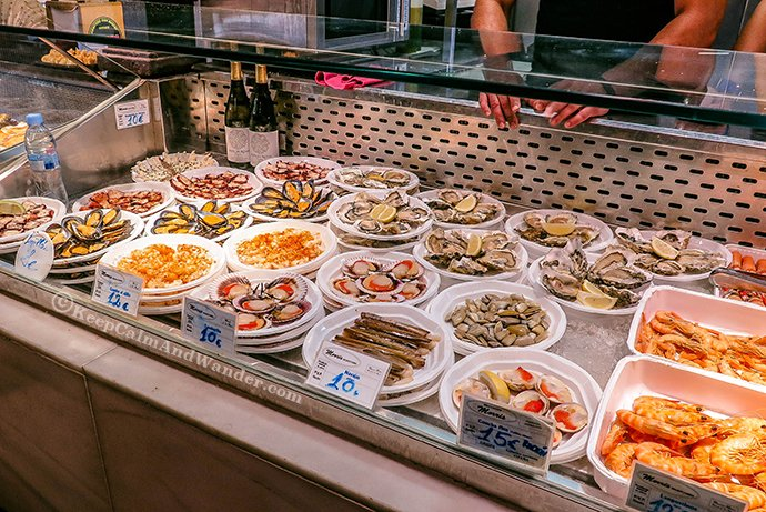All the Glorious Food at Mercado de San Miguel in Madrid, Spain.