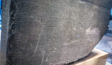The RosettaStone at the British Museum in London.
