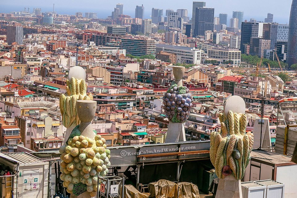vBarcelona from the top of Sagrada Familia (Spain).