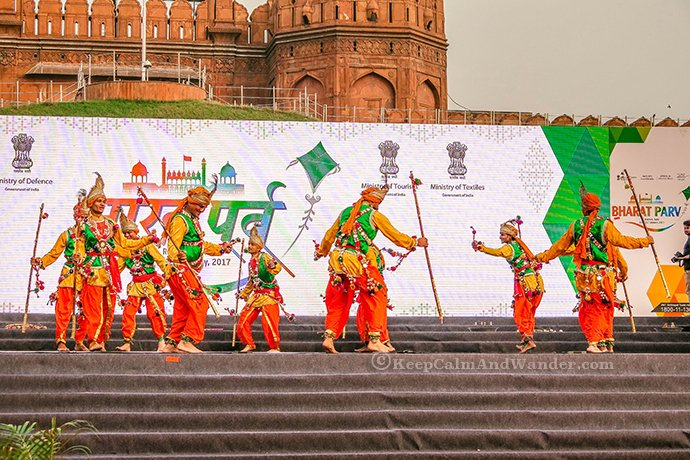 Indian Dancers at the Red Fort in New Delhi, India.