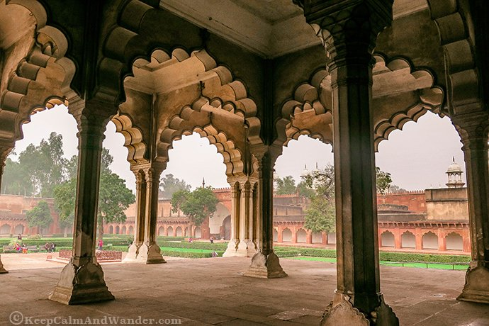 While the architecture is mostly Mughal, there's also a Hindu influence inside Agra Fort.
