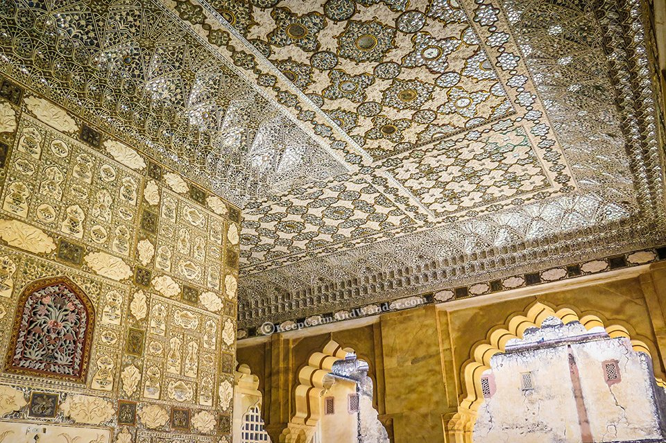 Sheesh Mahal - Amber Fort - The Palace Built on a Mountain in Jaipur (India).