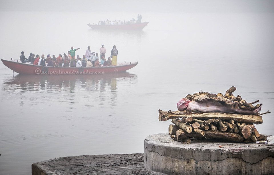 The Burning of the Dead on the Banks of Ganges River in Varanasi (India).