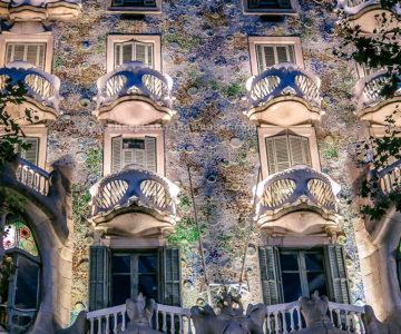 Casa Batllo at Night Really Looks Like a House of Bones (Barcelona Spain)