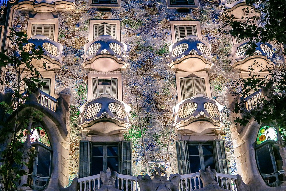 Casa Batllo at Night Really Looks Like a House of Bones (Barcelona Spain)
