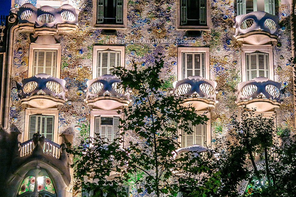 Casa Batlo at Night Really Looks Like a House of Bones (Barcelona Spain)