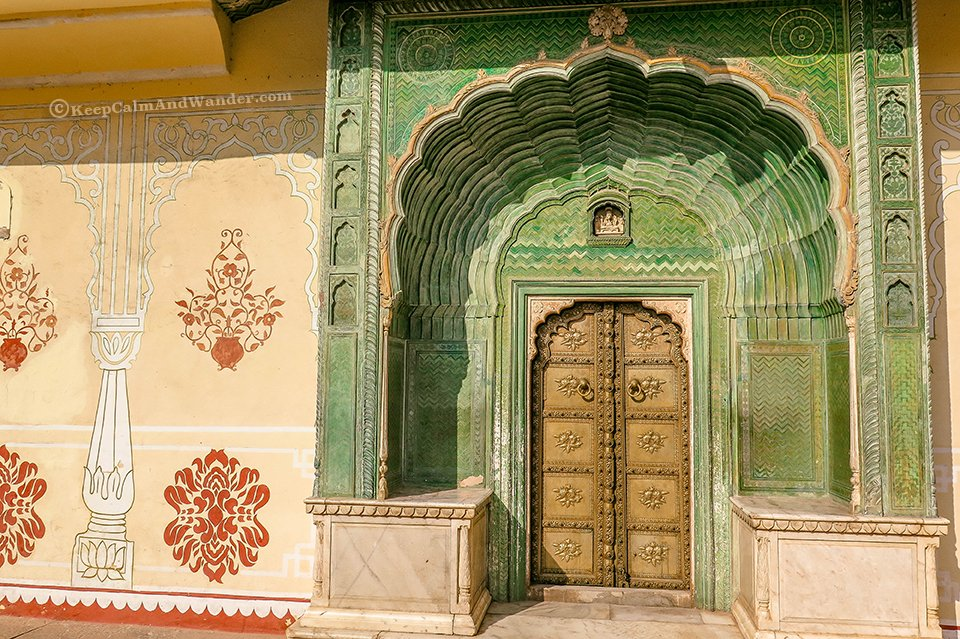 Green Gate (Green Door) at the City Palace (Jaipur, India).