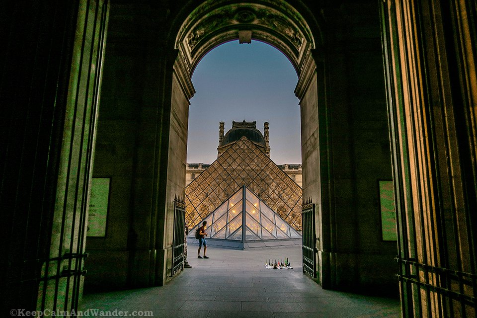 The Pyramids at Louvre Museum are Photogenic at Night (Paris, France) Photo