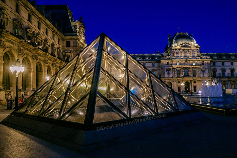 The Pyramids at Louvre Museum are Photogenic at Night (Paris, France).