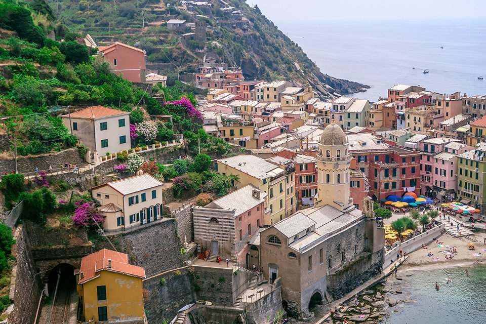 Vernazza is the Steepest of the Five Villages in Cinque Terre (Italy).