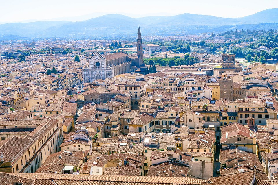 City Skyline of Florence From Tower de Arnolfo (Italy).