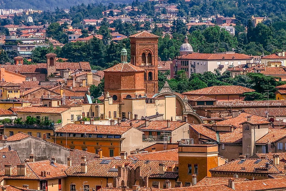 The Bell Towers of Bologna (Italy).