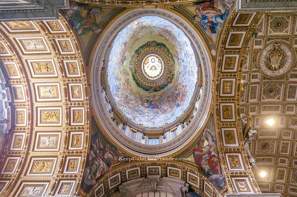 The Dome / Inside St Peter Basilica in the Vatican (Rome, Italy).