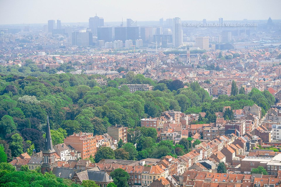 City Panorama: View of Brussels Skyline from the Top of the Atomium (Belgium).