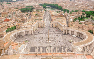 City Skyline: Vatican from the Top of St Peter Basilica (Rome, Italy).