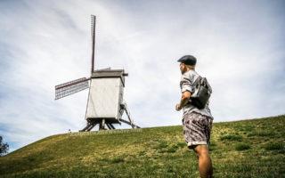 The Voormalige Hanze kwartier Windmills in Bruges (Belgium).