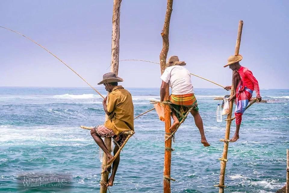 These Fishermen on Stilts in Sri Lanka are Fishing for Money Galle, Sri Lanka).
