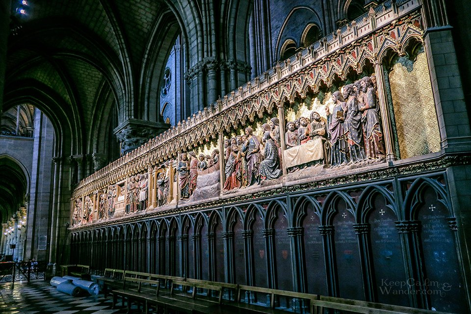 Inside the Notre Dame Cathedral in Paris (France).