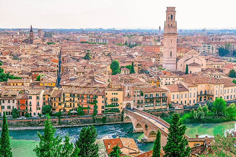 Travel Itinerary: A Day in Verona, Italy (View from Piazzale Caste San Pietro).