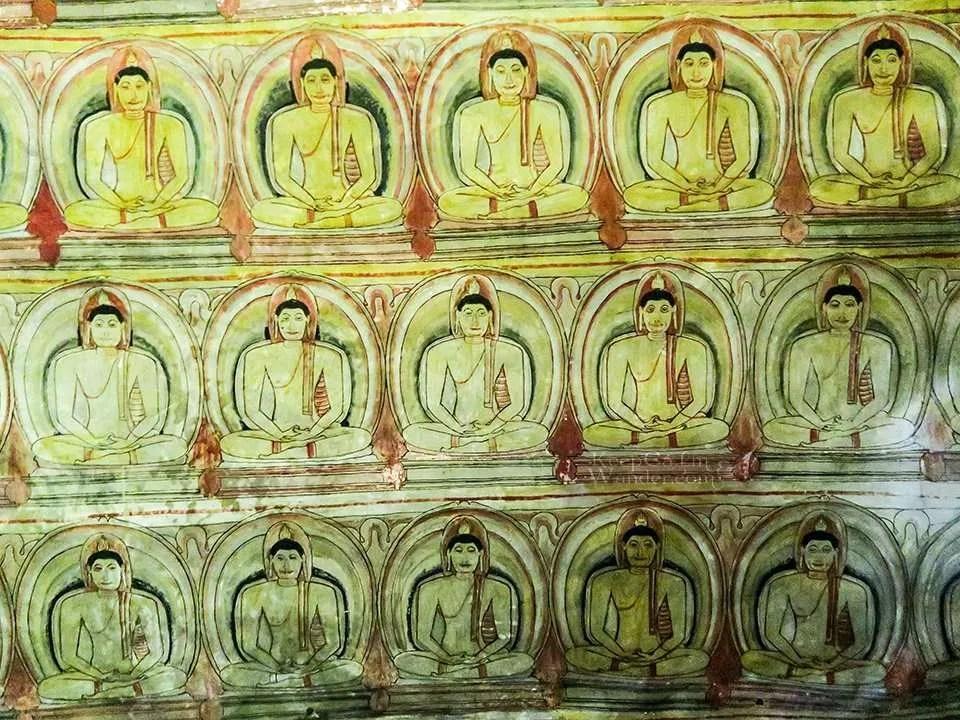 The Murals and Frescoes Inside the Dambulla Cave Temple (Sri Lanka).