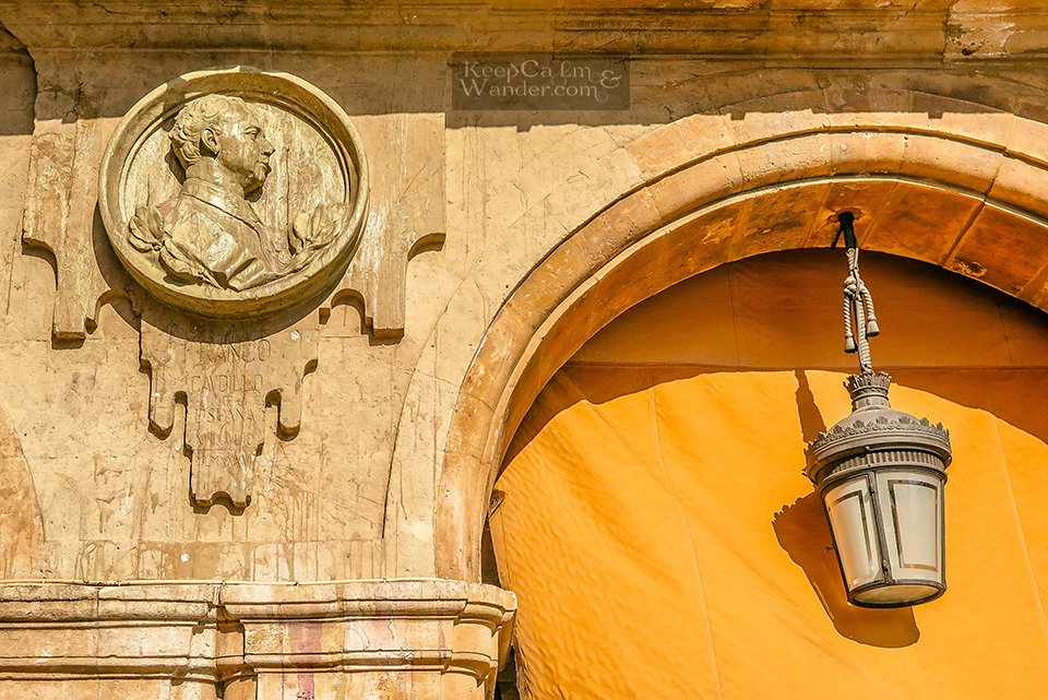 Francisco Franco's medallion bust at Plaza mayor in Salamanca (Spain)