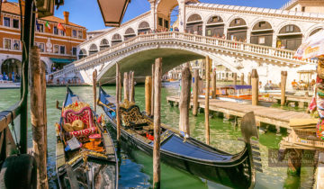 The Views From Rialto Bridge - The Oldest Bridge in Venice (Italy).