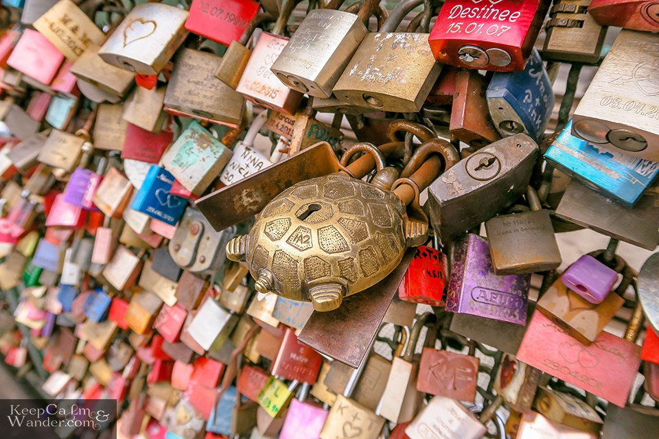 Leave Your Hearts at Love Locks Bridge in Cologne (Germany).