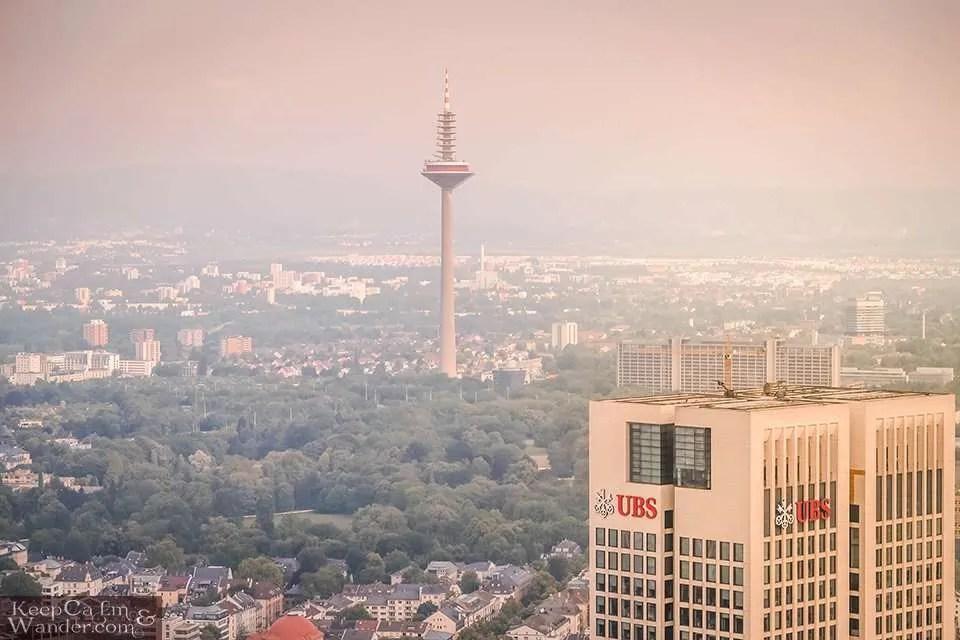 Europaturm TV Tower - Frankfurt Skyline from the Main Tower (Germany).