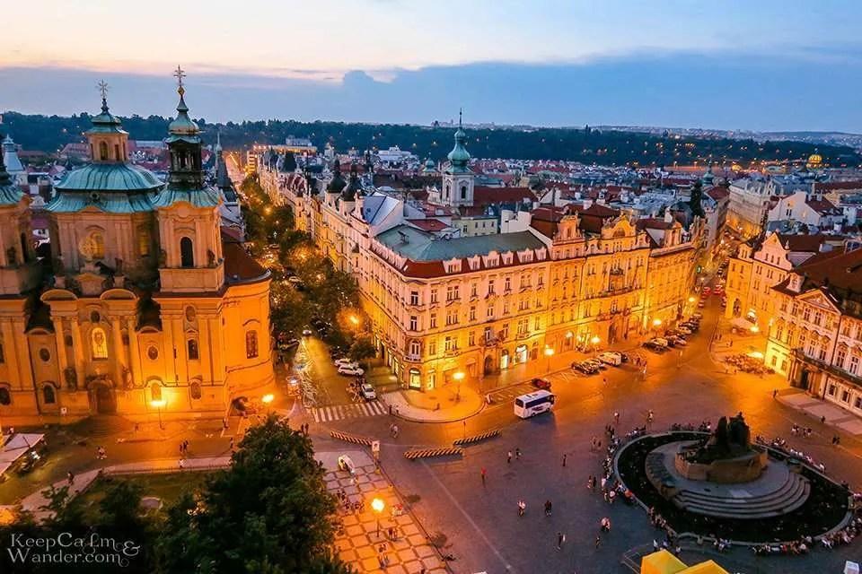 Praha skyline views town hall