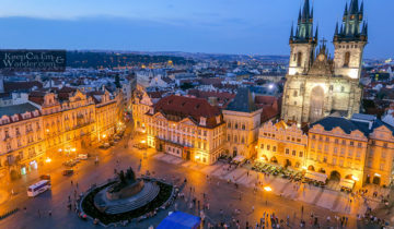 Views of Prague from the Old Town Hall Tower (Czech Republic).
