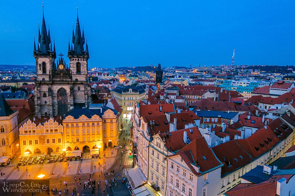 Skyline Prague from the top of the Old Town Hall Tower (Czech Republic).