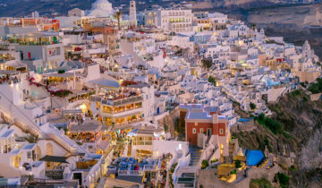 Santorini is magical after sunset (Greece).