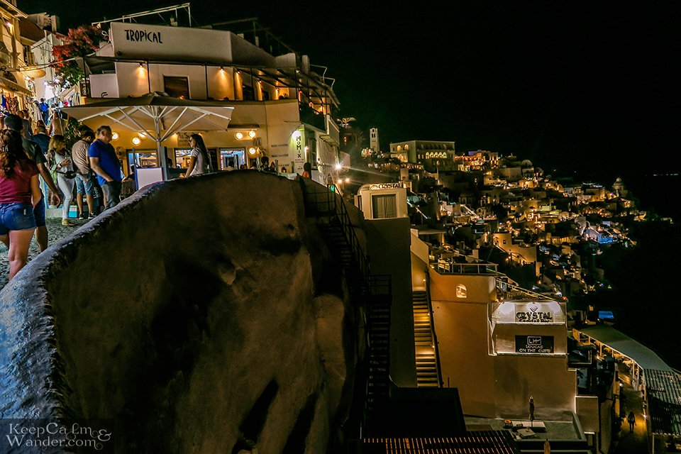After sunset, Fira is on breathtaking (Greece). Hotel in Santorini.