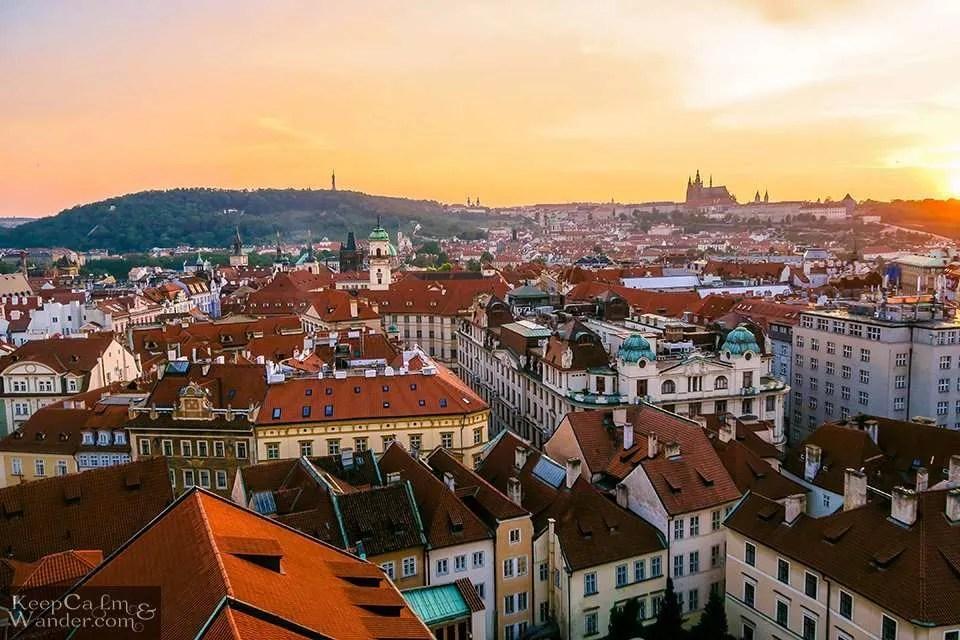 Praha Skyline from Old Tower Hotel in Prague