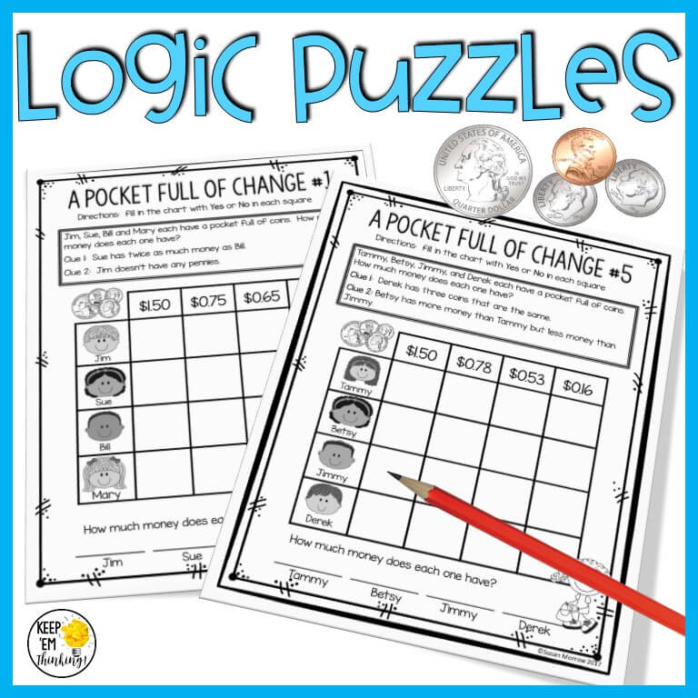 matrix logic puzzles to teach money