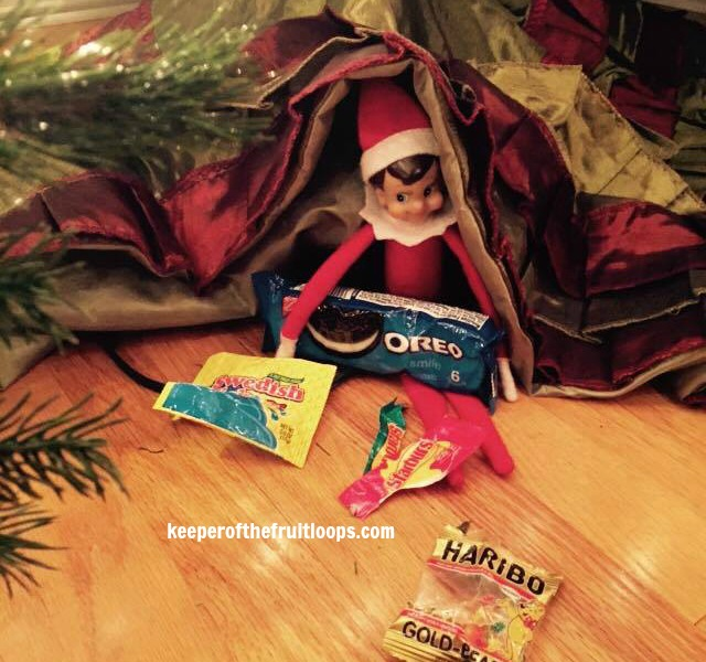 Elf on The Shelf with candy.